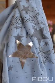 Sjaal zilveren ster blauw