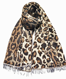 Sjaal soft leopard bruin