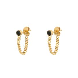 Oorbellen chain steen goudkleur