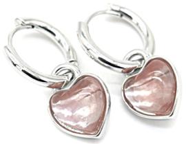 Oorbellen  hart quartz roze