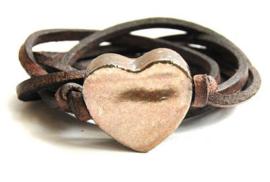 Armband echt leer met keramiek hart goudbruin