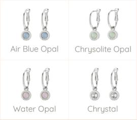 Biba oorbellen creool met hanger zilverkleurig