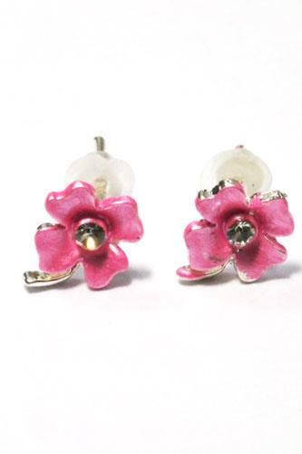 Kinder oorbel  bloem met steel roze