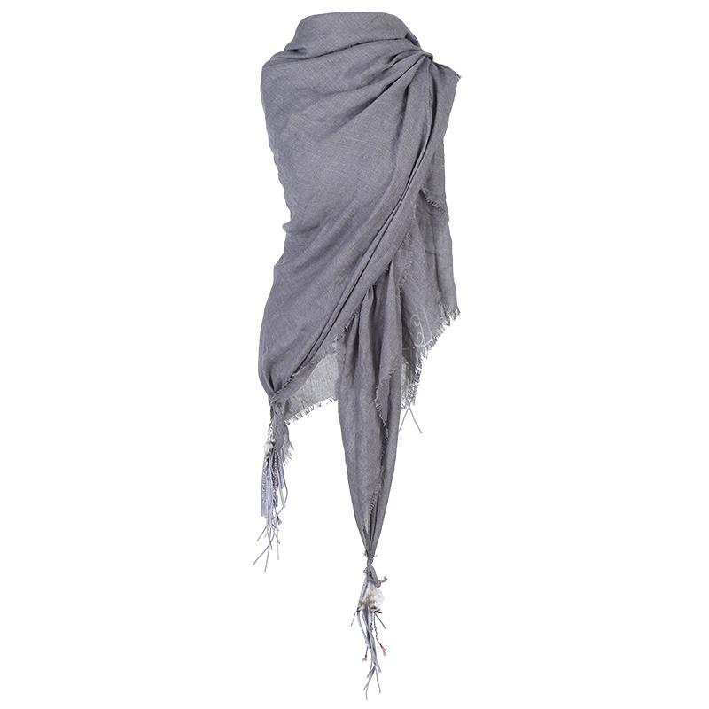 Sjaal Boho veer grijs