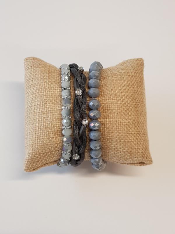 Set armbanden grijs