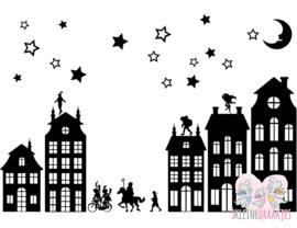 Raamstickers Sinterklaas en/of kerst Groot (statisch folie)