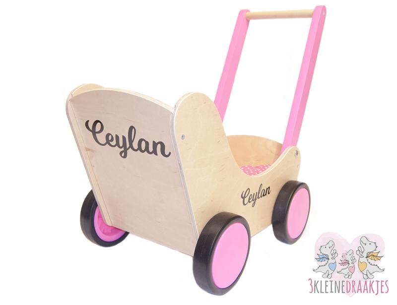 Houten poppenwagen met naam