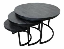 3-delige salontafelset Mangohout zwart