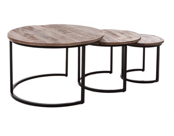 3-delige salontafelset Mangohout