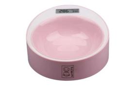 Roze voerbak met digitale weegschaal