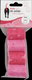 Mr Poop poepzakjes roze navullingen hartjes