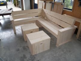 Hoekbank van nieuw steigerhout