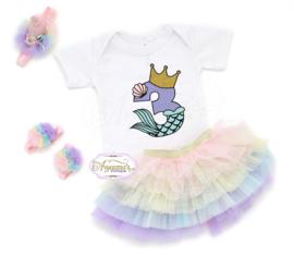 Verjaardag shirt mermaid princess met glitter naam