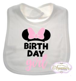 Minnie verjaardag slabbetje birthday girl