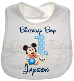 Mickey eerste verjaardag slabbetje