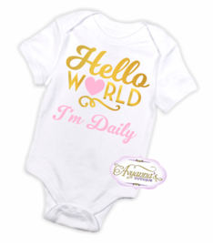 Newborn romper | Hello world romper met naam