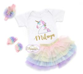 Verjaardag shirt unicorn met glitter naam