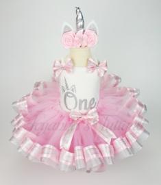 Verjaardag tutu set | Unicorn roze met zilverglitter