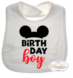 Mickey verjaardag slabbetje birthday boy