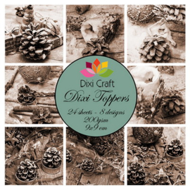 Mini toppers set 9x9 cm pinecones - sepia