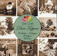 Dixi Craft - Paperpack - Toppers - 9 x 9cm - Vintage christmas sepia