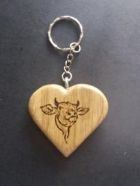 Hartvormige sleutelhanger met koeienkop