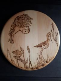 Wandbord rond met weidevogels