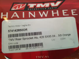 KTM SX 85 MINO RACING ACHTERTANDWIEL 50 TANDS  ALUMINIUM ORANJE 2004 - 2020