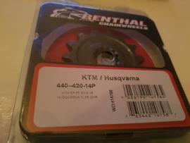 KTM SX 65 / HUSQVARNA TC 65 RENTHAL VOORTANDWIEL 14 TANDS ALLE BOUWJAREN