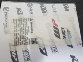 KTM SX 85 / HUSQVARNA TC 85 SCHOKBREKER WARNING STICKER  XACT 2020 - 2021