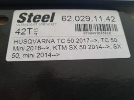 KTM SX 50 / HUSQVARNA TC 50 MOTO MASTER ACHTERTANDWIEL  42 TANDS STAAL 2014 - 2020