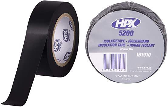 HPX ISOLATIETAPE ZWART BRAND VERTRAGEND 19MM X 10M
