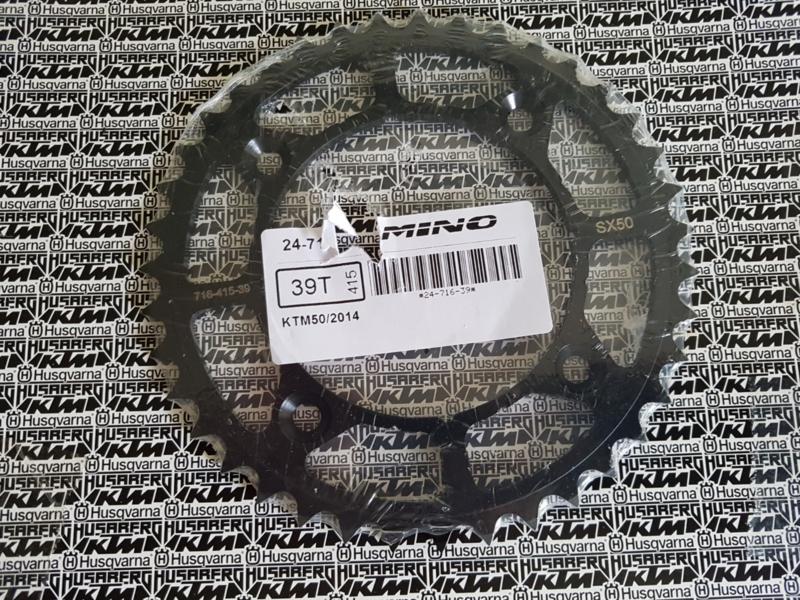 KTM SX 50 / HUSQVARNA  TC 50 MINO ACHTERTANDWIEL STAAL  ZWART 39 TANDS 2014 - 2019