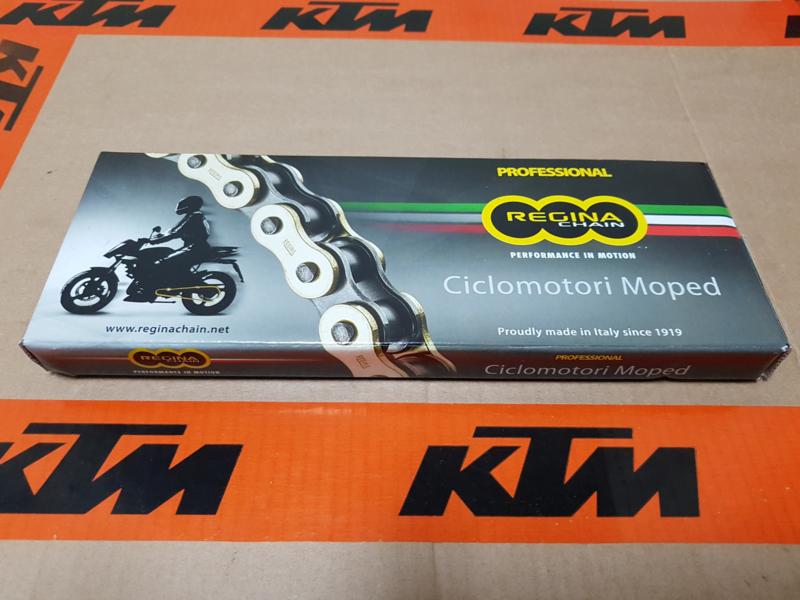 KTM SX 50  / HUSQVARNA TC 50 REGINA KETTING GOLD  ORO 415-130 ALLE BOUWJAREN