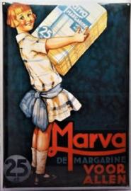 Marva Margarine. Emaille Reclamebord 35 x 50 cm.