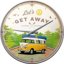 VW Bulli Let's Get Away. Wandklok Ø 31 cm.