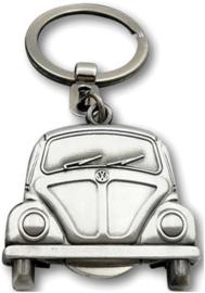 VW Beetle  Sleutelhanger Vintage zilver kleur.