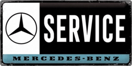 Mercedes Service.  Metalen wandbord in reliëf 25 x 50 cm