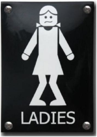 Ladies Emaille Toiletbordje 10 x 14 cm.