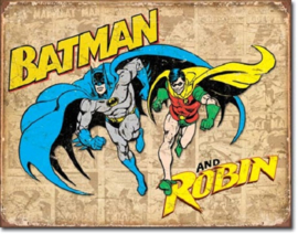 Batman and Robin Weathered . Metalen wandbord 31,5 x 40,5 cm.