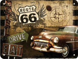 Route 66 Drive & Eat  Metalen wandbord in reliëf 15 x 20 cm