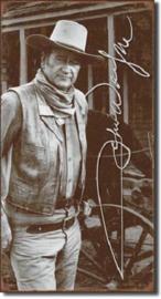 John Wayne Signature.  Metalen wandbord 22 x 40,5 cm.