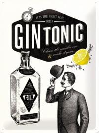 Gin Tonic  Metalen wandbord in reliëf 30 x 40 cm.