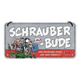 MOTOmania Schrauber-bude. Metalen wandbord 10 x 20 cm