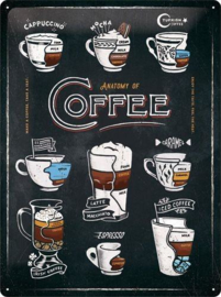 Anatomy  of Coffee  Metalen wandbord in reliëf 30 x 40 cm.