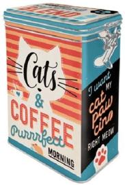 Cats & Coffee .  Bewaarblik met beugelsluiting.