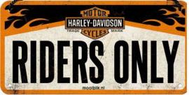 Harley Davidson Riders Only  Metalen wandbord 10x20 cm