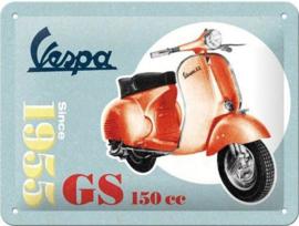 Vespa GS 150 Metalen wandbord in reliëf 15 x 20 cm.