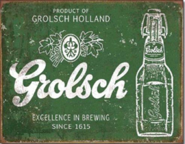 Grolsch Excellence in Brewing  Metalen wandbord 31,5 x 40,5 cm.