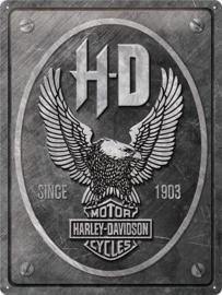 Harley Davidson Eagle. Metalen wandbord in reliëf 30 x 40 cm.